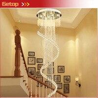 Новый вращающийся Роскошные Современная подвеска Кристалл Света для высокой посадкой лестница модные креативные Лампы для мотоциклов дом