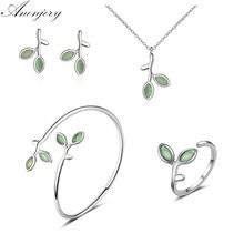 ANENJERY-Conjunto de joyería de plata de ley 925, pendientes de brotes de hoja de ópalo, anillo, collar y brazalete para mujer, joyería de verano
