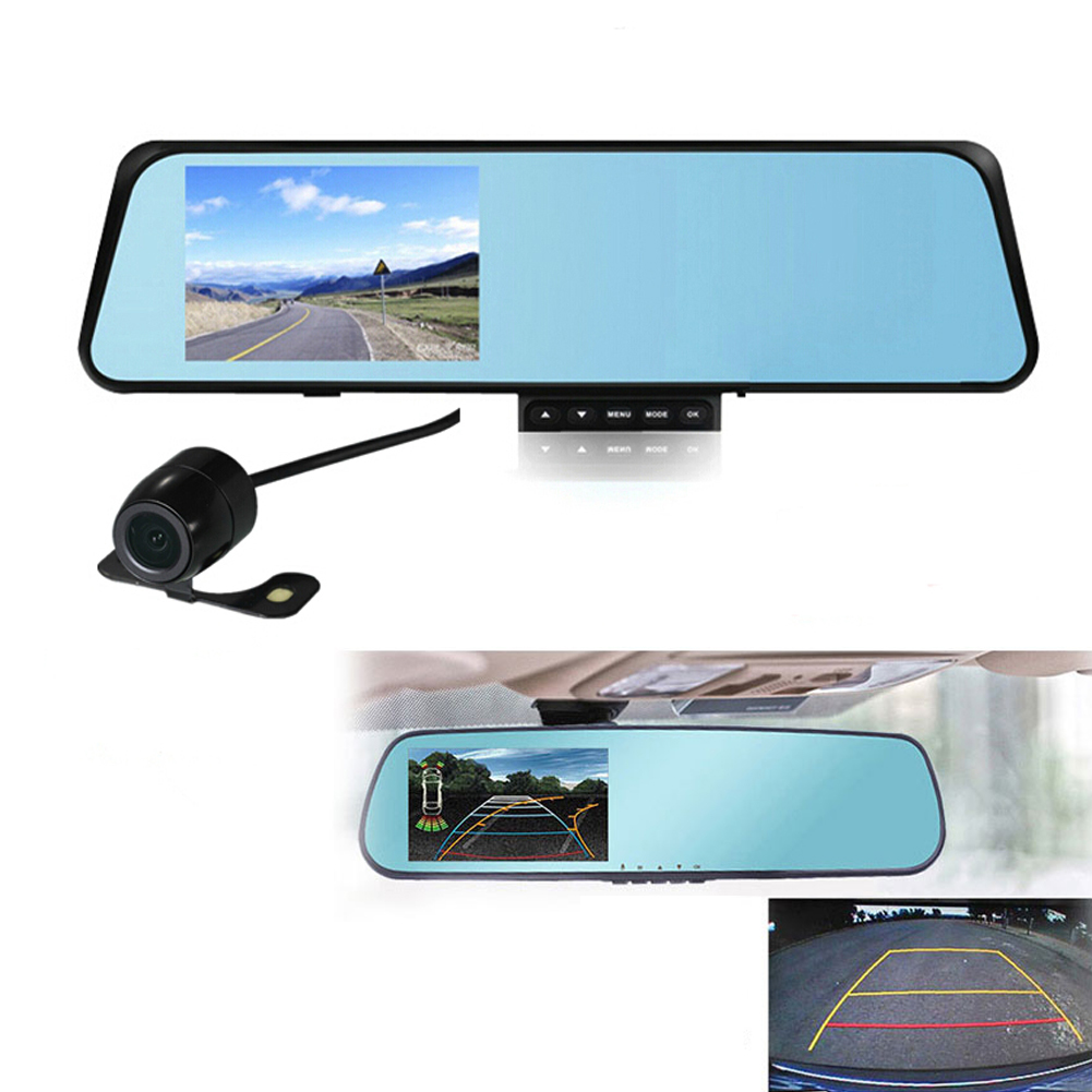 Dual Lens Ultrathin 4 3 Inch Car Rearview Mirror Data Recorder 1080P Digital Video Recorder Auto