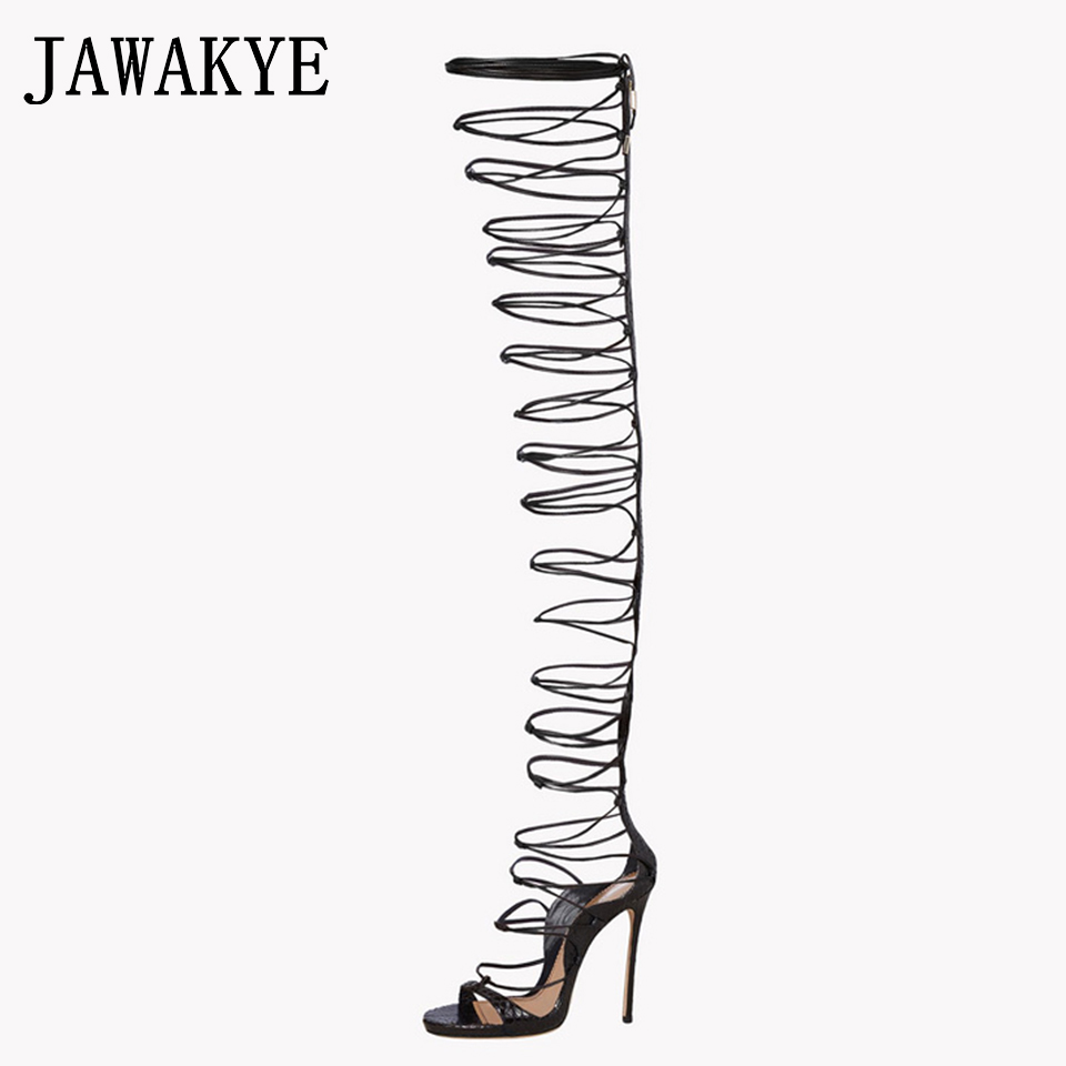 JAWAKYE Sexy Brand Summer Shoes Hollowed out Strappy Gladiator Sandals Women Fashion Lace up Party thigh high boots for womenJAWAKYE Sexy Brand Summer Shoes Hollowed out Strappy Gladiator Sandals Women Fashion Lace up Party thigh high boots for women