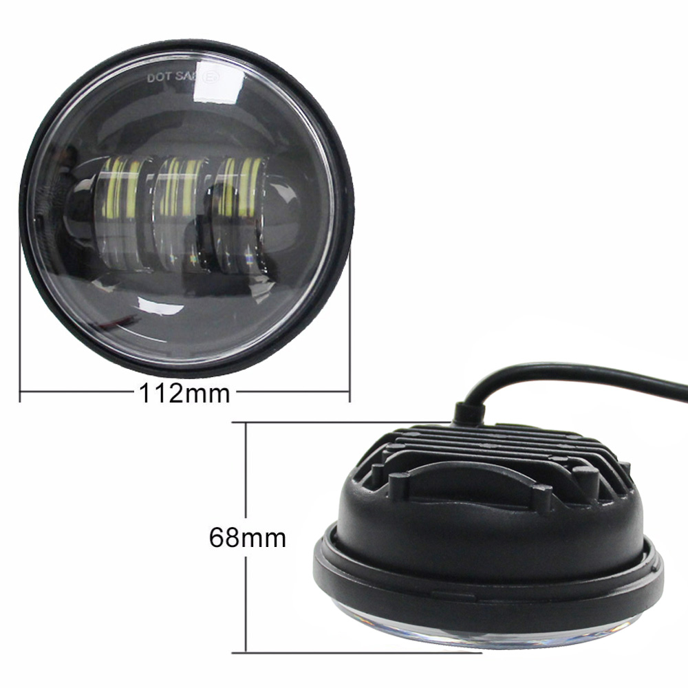 Two 4.5 Inch Auxiliary Lights LED Fog Lamps For Harley Davidson Motorcycles  LED Fog Lamps Passing Light