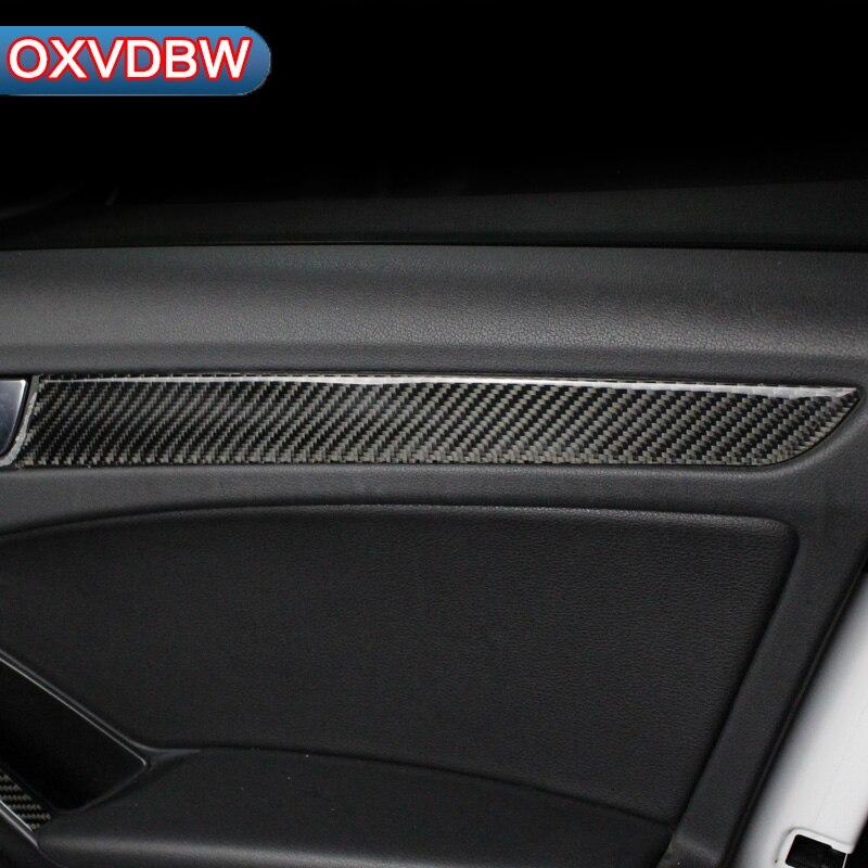 4 pièces voiture intérieur porte panneaux couvre en Fiber de carbone bande autocollant pour audi a4 B5 B6 B7 B8 accessoires voiture style Refit