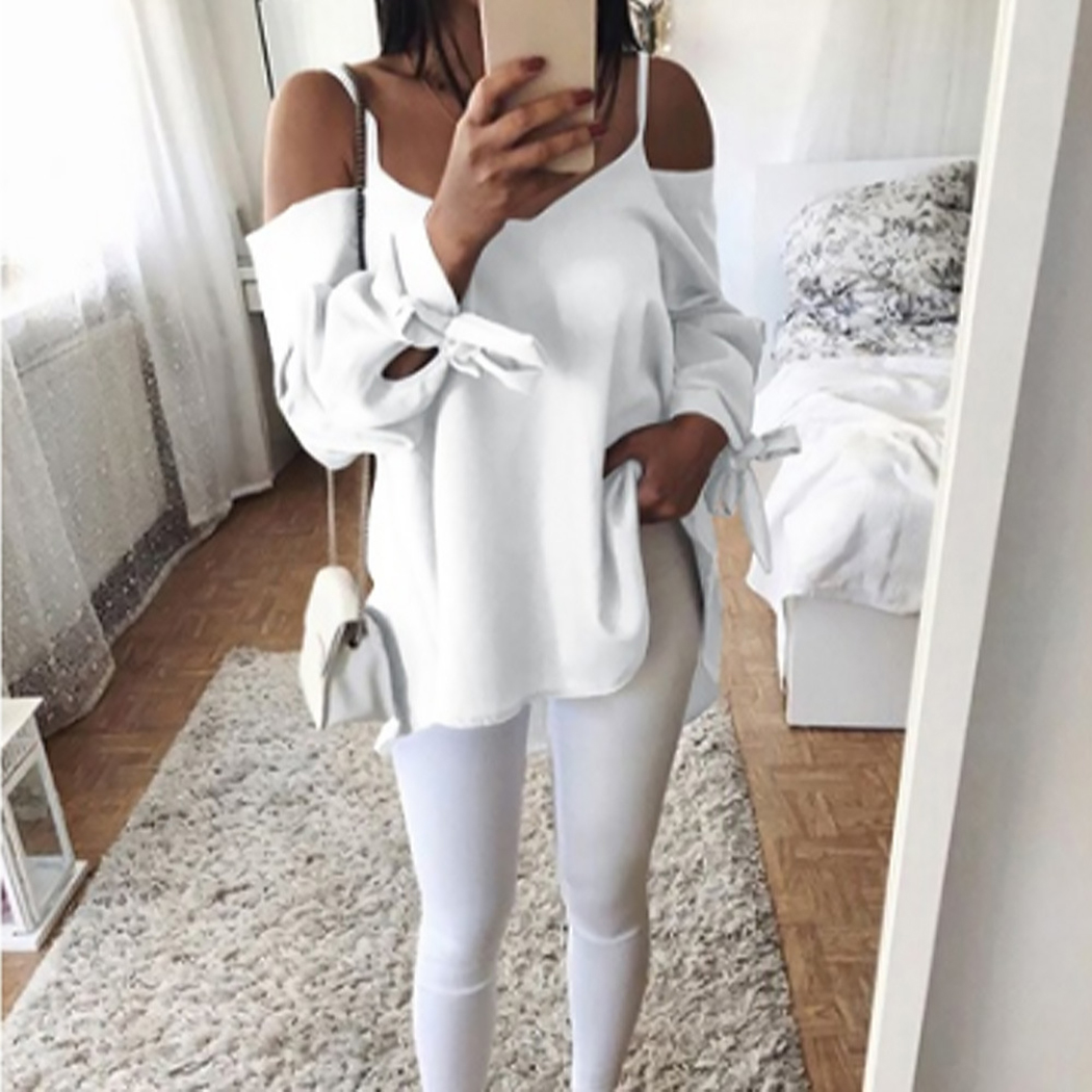 Women's Clothing Humorous Sexy Off Shoulder Top Bandage Long Sleeve Women Shirts Blouses Casual Loose Blouse Ladies Blusas Plus Size S-5xl Ws9031m Buy Now