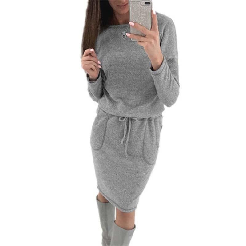 2018 Autumn Winter Knitted Dress Women With Sashes Sexy Long Sleeve Knee Length Warm Dress High Waist Sweater Dresses Vestidos