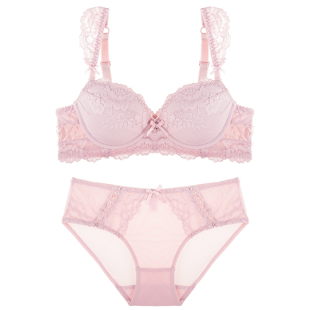 1cb35d4cdc 2017 summer female lingerie sexy lace bras Red gather push up women  underwear bra set girl transparent lace bra and panty set