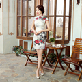 New Arrival Female Real Silk Vintage Dress Chinese Women Summer Sexy Cheongsam Short Mini Qipao Flower Size S M L XL XXL Z0037
