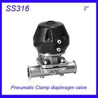 2 SS316L Sanitary Stainless Steel EPDM Pneumatic Clamp Diaphragm Valve Sterile Food Grade F Wine Milk