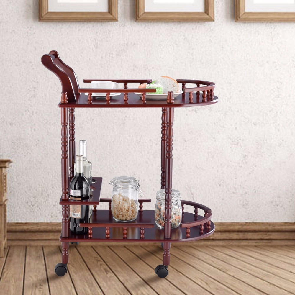 Giantex Kitchen Serving Bar Cart Trolley Wood 2 Tier Rolling Wine Rack Stand Cherry  Home Furniture HW57877Giantex Kitchen Serving Bar Cart Trolley Wood 2 Tier Rolling Wine Rack Stand Cherry  Home Furniture HW57877