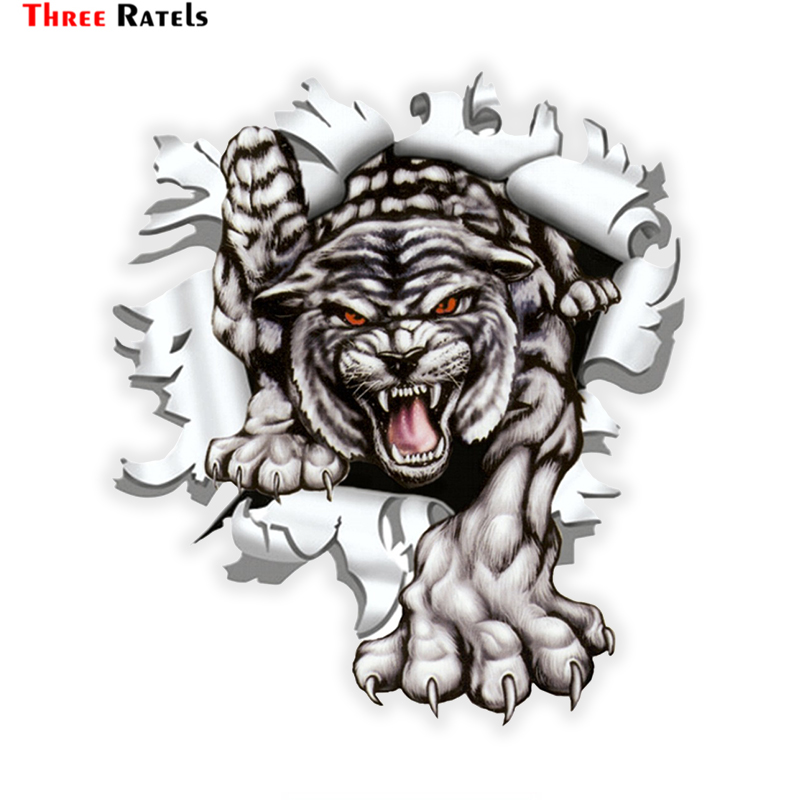 Three Ratels LCS271# 15x17.1cm Tiger In The Bullet Hole  Colorful Car Sticker Funny Car Stickers Styling Removable Decal
