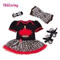 Nova roupa do bebê 4 pcs define menina de algodão de manga curta ternos crianças roupa do aniversário do leopardo preto tutu romper dress ruffled f1038