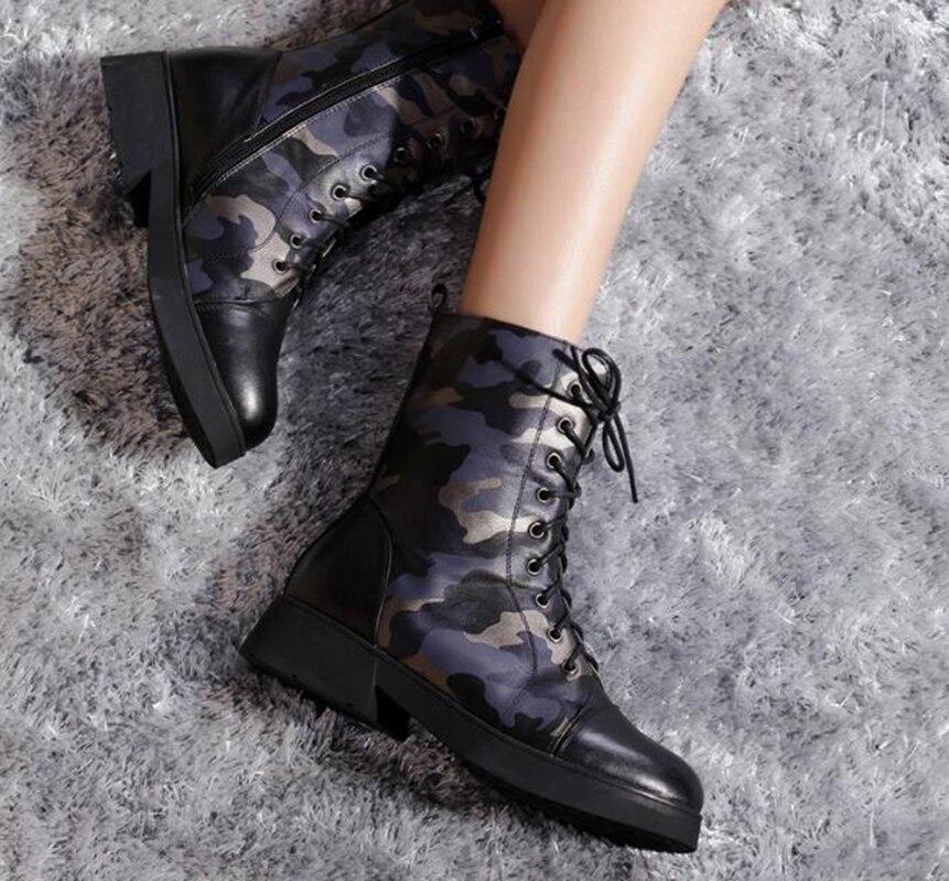 Martin Zapatos camouflage Militares Cordones De Cortas black lining black Mujer Botas cotton Cuero lining cotton Plataforma Camouflage Camuflaje Individuales Nueva Y0qwSf