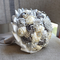 אפור הכי חדש + קרם עבודת יד פרח כלה זרי גביש שושבין יהלומים מלאכותיים