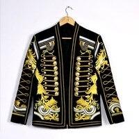 Барокко Стиль двубортный Slim Fit выполнить сценический костюм куртки мужские осень зима золото вышивка цветочный клуб Формальные блейзер