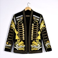 Baroque Style Double Breasted Slim Fit Perform Stage Suit Jacket Men Autumn Winter Gold Embroidery Floral Club Formal Blazer