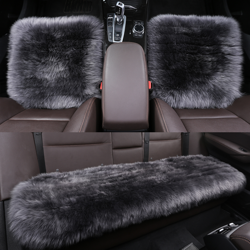 3 Pack Whole Set Universal Natural Fur Authentic Sheepskin Car Seat Cover with Comfortable Soft 2 Inch Long Fluffy Wool Auto ogland natural fur comfort authentic fluffy sheepskin car seat cover for soft car seat cushion made of australia wool automobile
