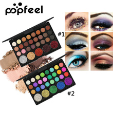 Popfeel 29 Colors Eyeshadow Palette Matte Shimmer Glitter Nude Pigmented Metallic Finish Eye Shadow Bling