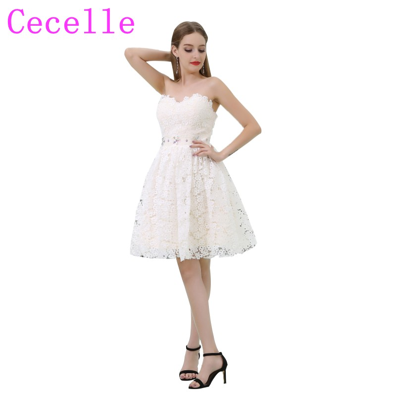 Simple Cute Lace Short   Cocktail     Dresses   Sweetheart Beaded Belt Junior's Semi Formal Little White   Dresses     Cocktail   Robes Custom