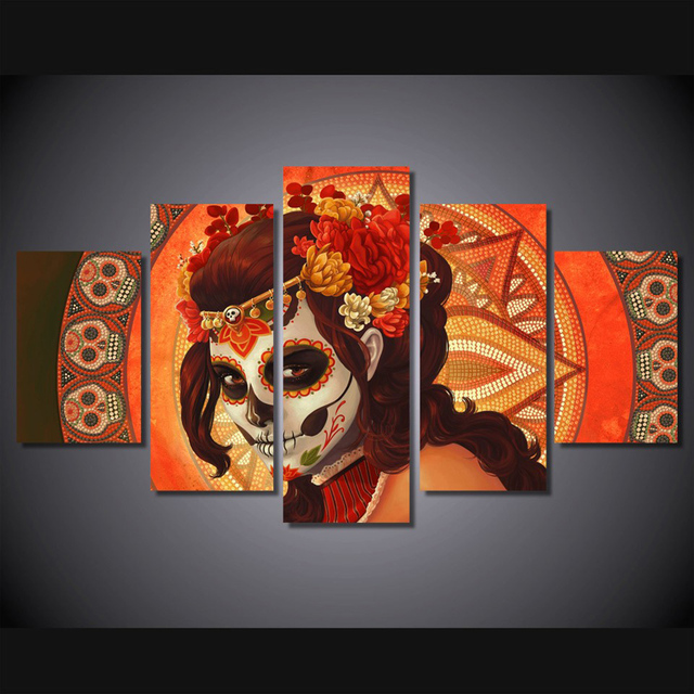 5 Piece Hd Print Nordic Art Day Of The Dead Face Painting And Frames