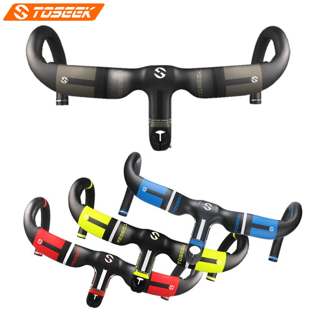 TOSEEK Full UD Carbon Integrated Handlebar 400/420/440mm With 80/90/100/110/120mm Stem For Racing Road Bike 28.6mm bikein lite ud carbon cycling road bike drop bar with stem racing bicycle integrated handlebar 400 420 440mm ultralight 315g