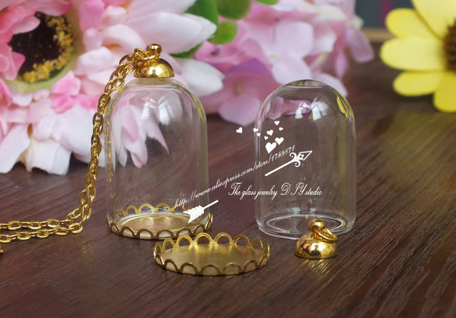 20setlot gold hanging cloche dome necklace clear glass bottle 20setlot gold hanging cloche dome necklace clear glass bottle pendant diy gold base terrarium aloadofball Image collections