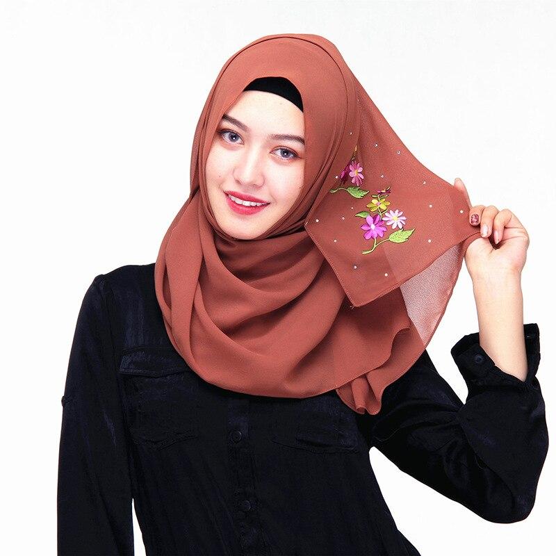 b3cb4a7510e Muslim Turkish Scarves Flower Grey Red Pink Black Chiffon Arab Scarf ...