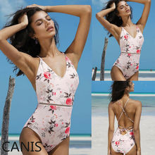 2019 Sexy One Piece Swimsuit Women Swimsuit Monokini Floral Print Swimwear Push Up Padded Bikini стоимость