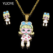 00cef0eb3625 Dibujos Animados Blancanieves LOL muñeca collares colgantes Acero  inoxidable chapado en oro collar pendientes joyería conjuntos
