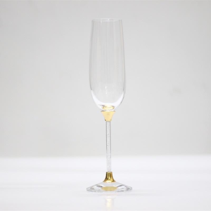 Gafas de boda de cristal de oro de 250 ml personalizados champán - Cocina, comedor y bar