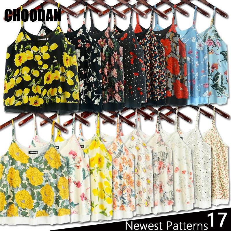 Tank Top Women Chiffon Blouses 2018 New Summer Sleeveless Shirt 2017 Floral Flower Cami Loose Female