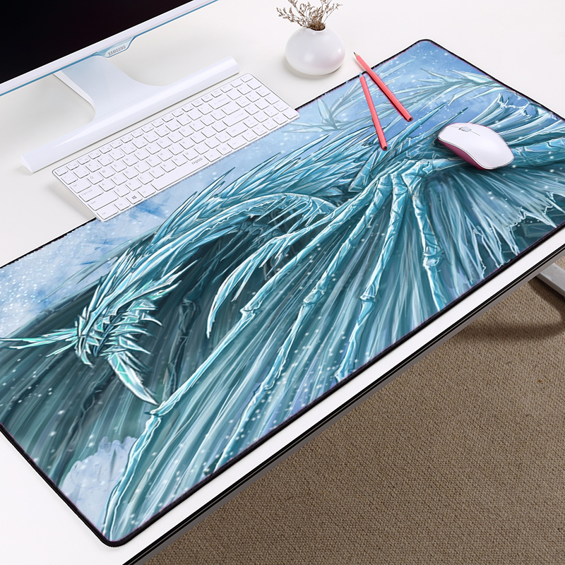 Mairuige Frost Dragon Cool Pattern Art Mousepad Table Mat Big Size 40x90cm and Locked Edge Support Diy Pc Laptop Desk Micepad