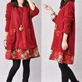 Zanzea inverno outono retro mulheres long sleeve dress falso de duas peça floral hem casual soltos mini vestidos vestidos plus size S-4XL