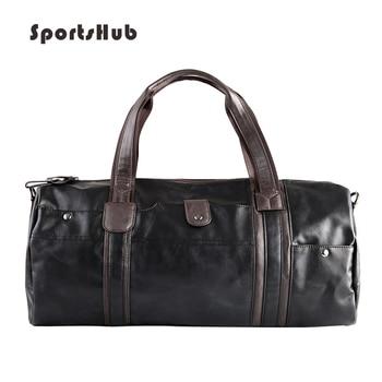 SPORTSHUB Soft PU Leather Men's Sport Bags Gym Bag Sports Designer HandBag Fitness Bags Travel Case Workout Shoulder Bag SB0026
