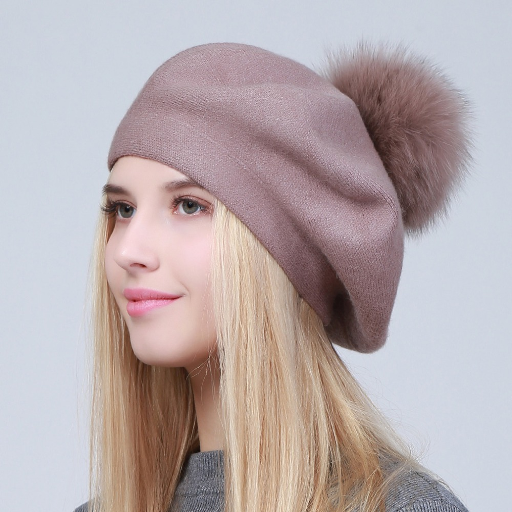 Geebro Women Berets Hat Winter Casual Knitted Wool Berets With Natural Raccoon Fur Pompon Ladies Solid Color Beret Hats GS109