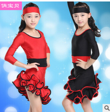 Free shipping rumba latin dance dress tango samba 110-160cm black red competition  fashion professional girl child dress costume
