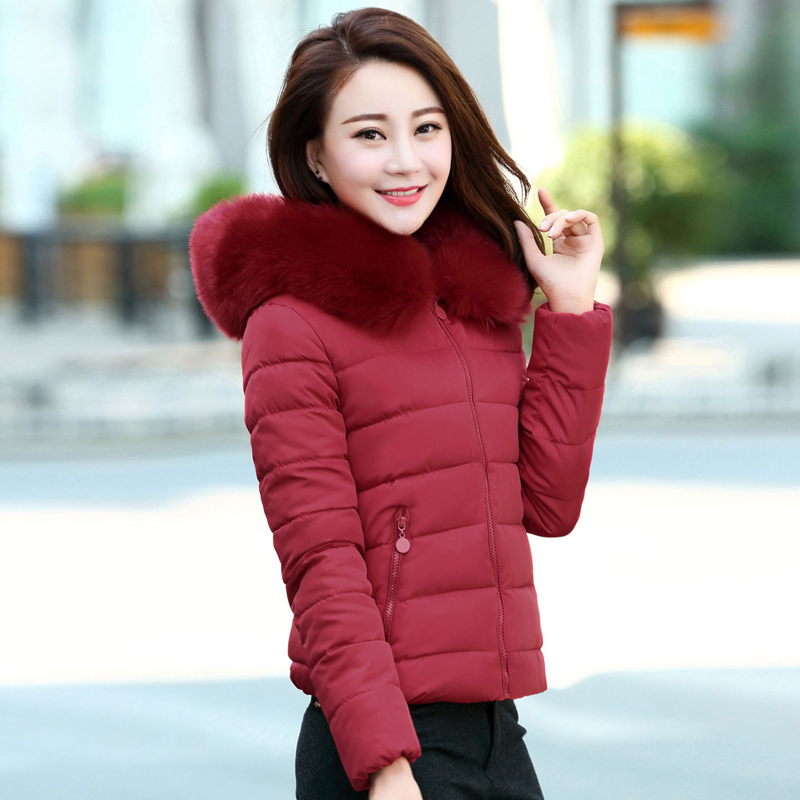 ФОТО Nice Brand Winter Coat  Women Female Cotton Short Slim Plus Size Jacket Hooded Imitation Fur Collar Cotton Padded Parkas HJ116