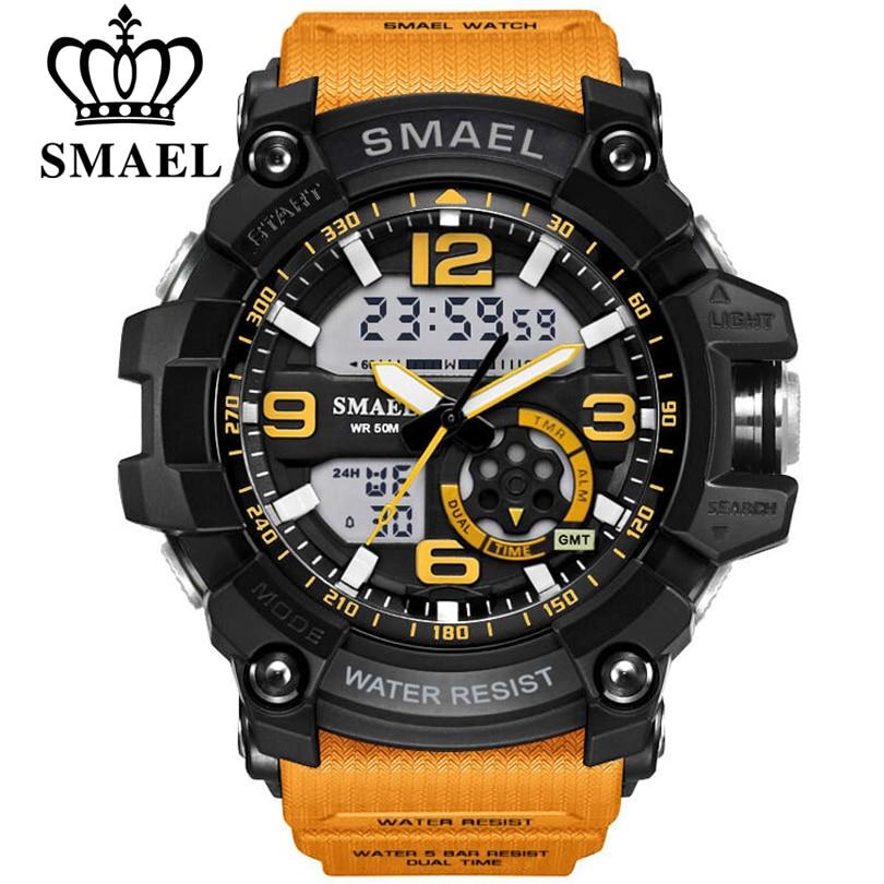 SMAEL Digital Reloj hombres deporte Super Cool hombres de cuarzo relojes deportivos marca de lujo LED reloj militar masculino xfcs