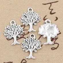 20 pçs encantos vida árvore 22x17mm bronze antigo prata cor pingentes fazendo diy artesanal tibetano bronze prata cor jóias