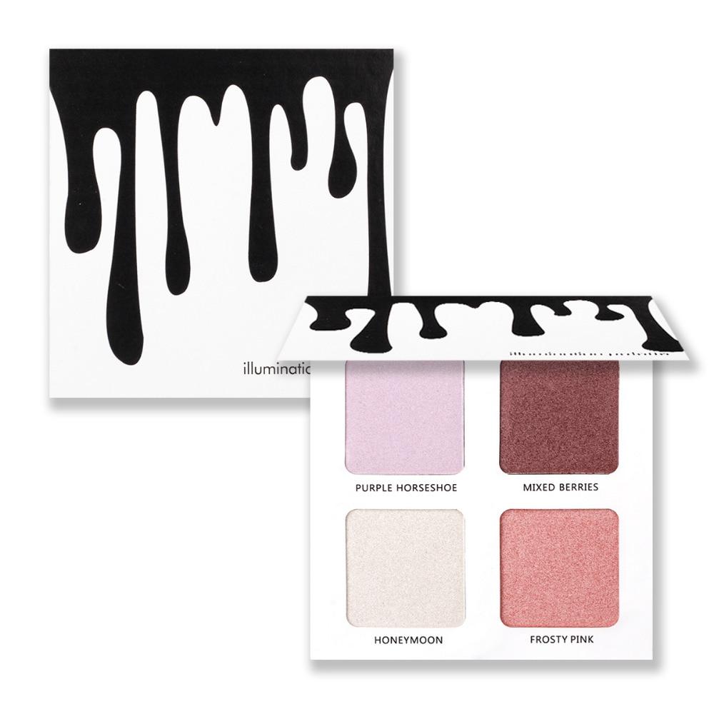 KYLIGHTER Powder Highlighter Palette Makeup Glow Kit Illumination 4 Color Face Bronzer Contour Mirrored Brighten Skin Metallic