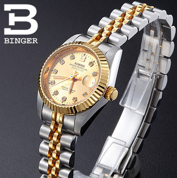 6e4389c89a97 Luxury CZ Diamond Gold Silver Watch Ladies Women Automatic Dress Watches  Famous Designer Hand Made Wristwatch Black-in Women s Watches from Watches  on ...