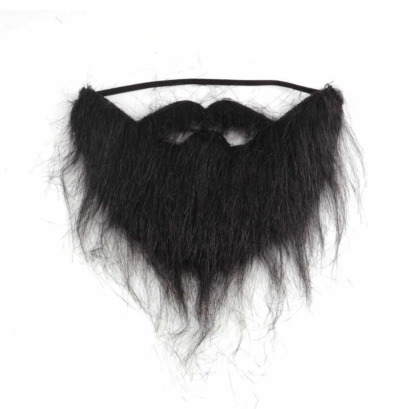 Модные 1 шт., забавные вечерние костюмы для мужчин на Хэллоуин, борода, волосы для лица, маскировка, игра, черные усы, высокое качество