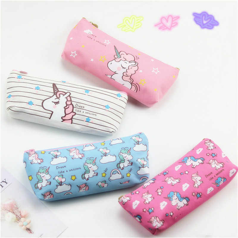 1pcs/למכור Kawaii קלמר קריקטורה חמוד ורוד Unicorn דפוס בית ספר משרד אספקת מכתבים תלמיד מתנה עבור סינגלים יום