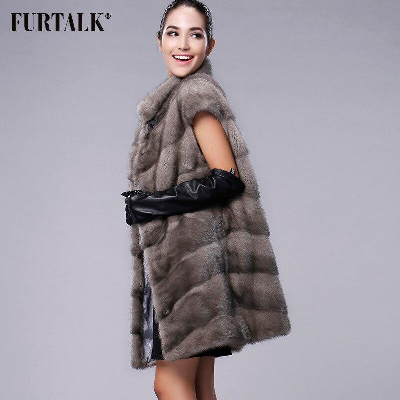 FURTALK 100% Настоящее Жилетка Норки Длинные Зимы Женщин Меховой Жилет Высокое Качество Норковая Шуба