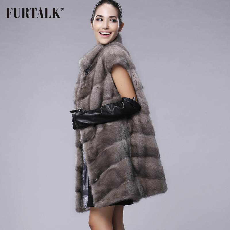 FURTALK 100% Real Mink Fur Vest Long Women Winter Fur Vest High Quality Mink Fur Coat