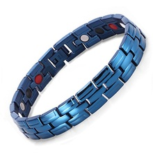 Healing Magnetic Bracelet For Men 4 Health Care Elements Magnetic FIR Germanium Nagtive Ion Bracelets Blue Jewelry Hand Chain