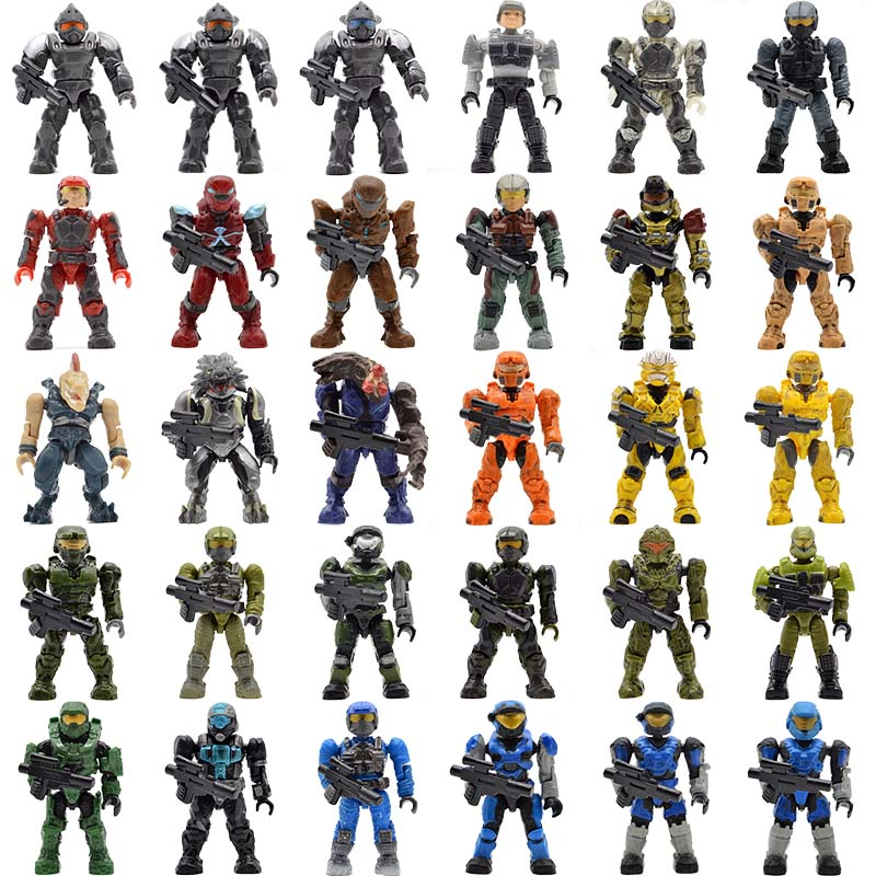 Single Sale Monsters Humans Halo Warriors Spartans Wars Games Covenants with Guns Building Blocks Bricks Kids Gifts Toys