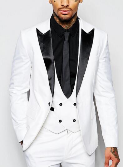(jacke + Weste + Hose) Kostüm Homme 2018 Weiß Smoking 3 Stück Set Slim Fit Hochzeit Anzüge Für Männer Formalen Herren Anzüge Mit Hosen Dinge Bequem Machen FüR Kunden