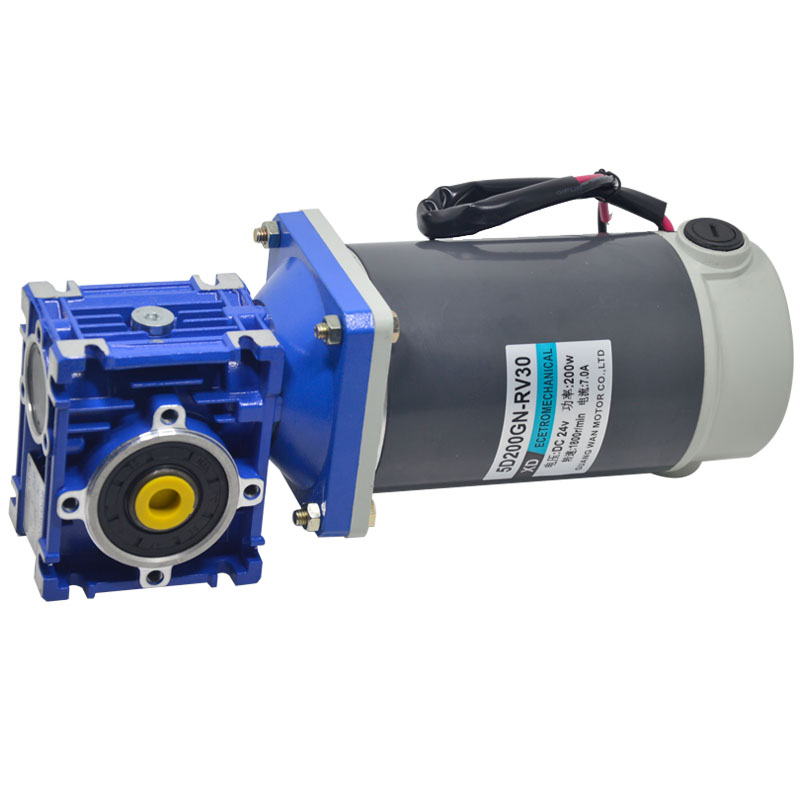 200W DC gear motor RV30 low speed motor with self locking can adjust the speed motor