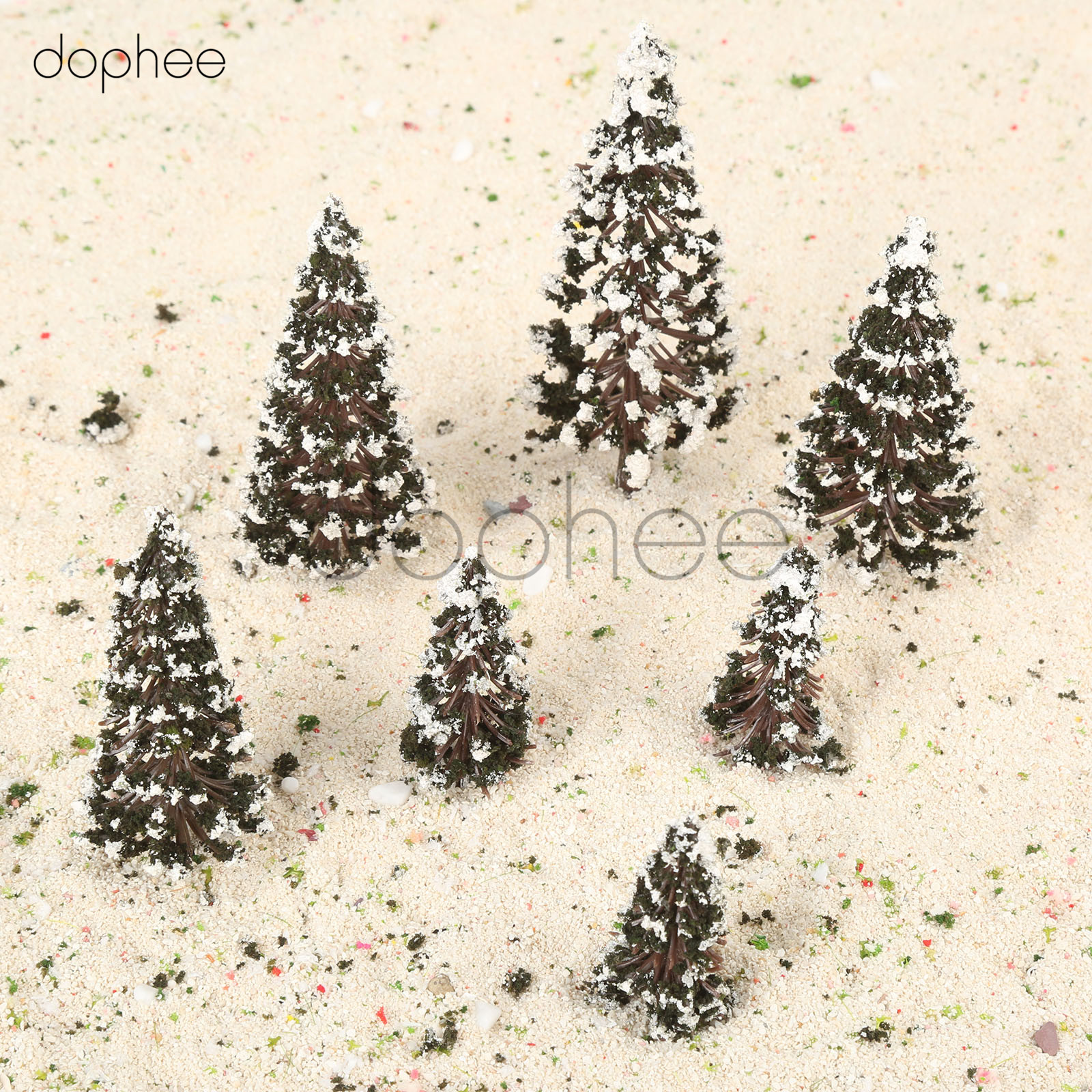 dophee 16pcs Mixed Scale Model Cedar Trees Snow SceneTrain Railway Winter Scenery Layout
