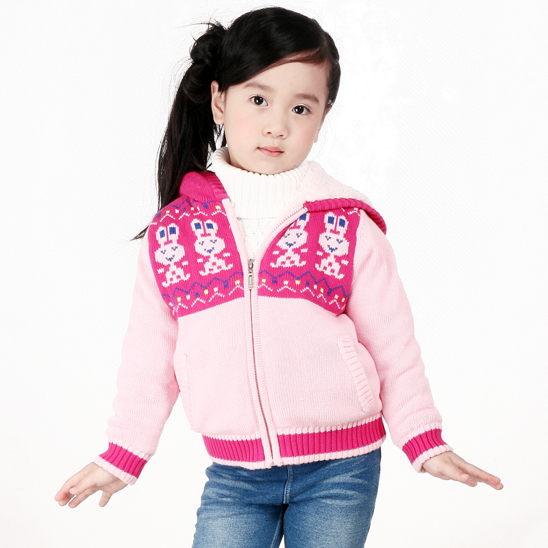 2018 Hot Autumn and winter 100% cotton plus velvet cardigan girl sweater children's outerwear Girl Sweater with Fleece Lining plus size geometric loose sweater kimono cardigan