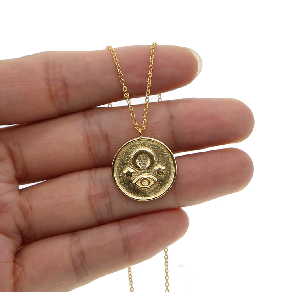 100% 925 Sterling Silver Turkish Evil Eyes Gold Filled Pendant Necklace Colar Ethnic Womens Jewelry High Posh Round Necklace